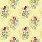 Lewis & Irene Island Girl - 5302- Island Girl Floral on Pale Yellow - A191.2 - Cotton Fabric